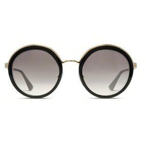 Prada Round Black & Gold Sunglasses